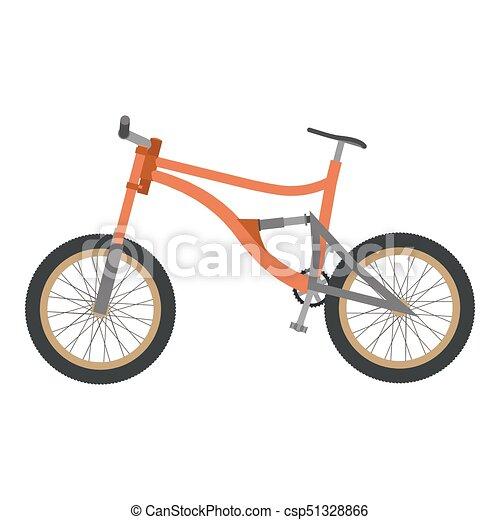 Bike Mountain Downhill Orange Vector Flat Icon Bicycle Illustration