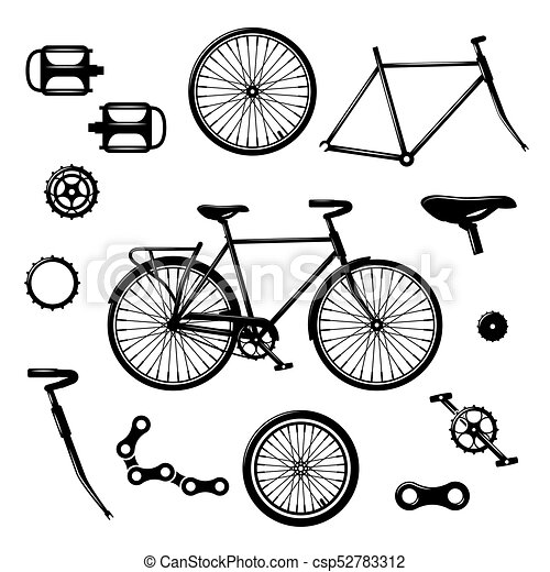 Bike parts. bicycle equipment and components isolated ...