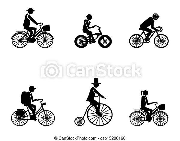 bike riders Silhouettes  - csp15206160