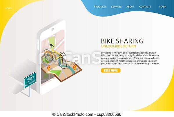 Bike sharing landing page website vector template
