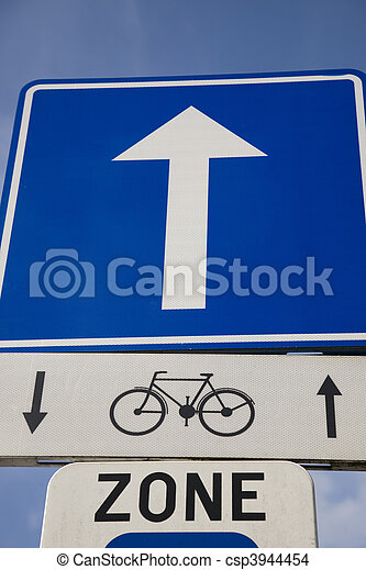 Bike Sign with Blue Arrow - csp3944454