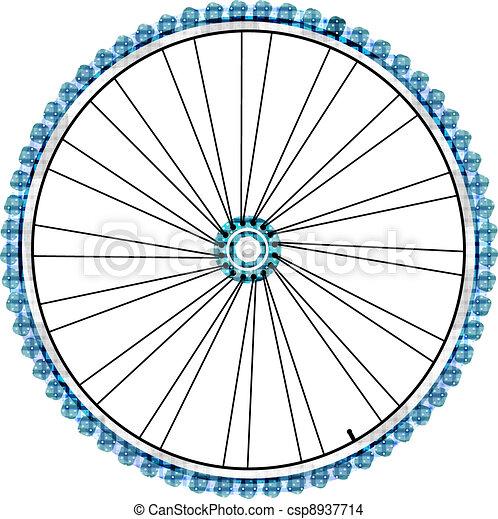 Bike wheel isolated on white background. vector - csp8937714