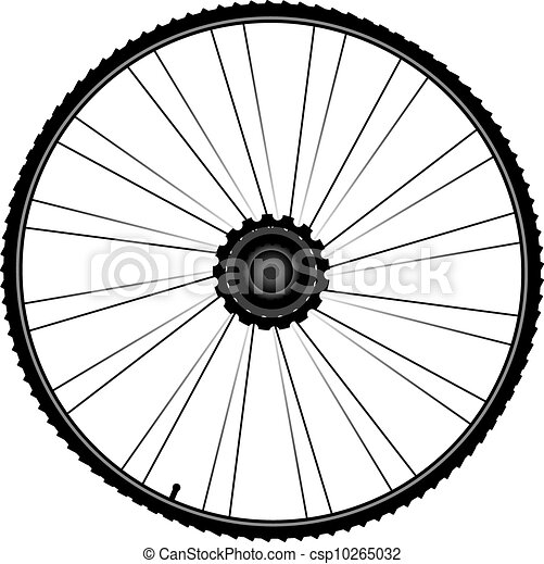 bike wheel with spokes and tire isolated on white background - csp10265032