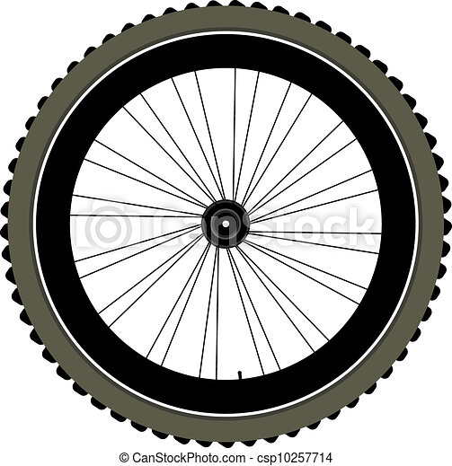 bike wheel with tire and spokes isolated on white - csp10257714
