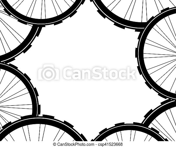 bike wheels background pattern. Pattern of bicycle wheels. bicycle wheels with tyre and spokes - csp41523668