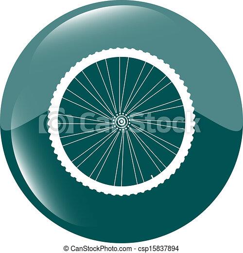 bike wheels green square glossy web icon button - csp15837894