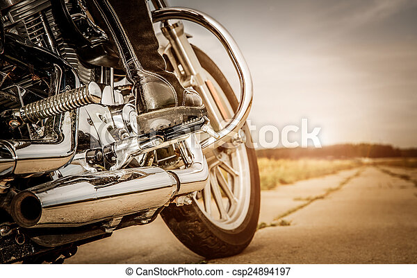 Biker girl riding on a motorcycle - csp24894197