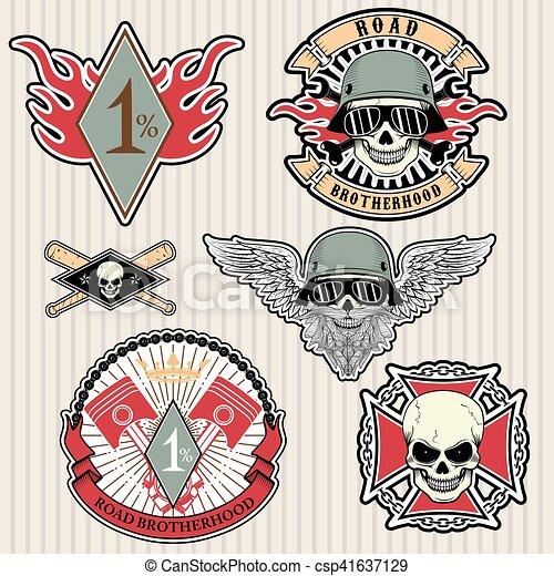 biker labels - csp41637129