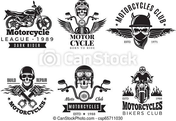 Biker labels  Vintage custom motorcycle and symbols for badges skull bike  flags wheel bones engine fire vector road concept