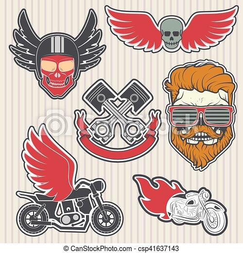 biker logos - csp41637143