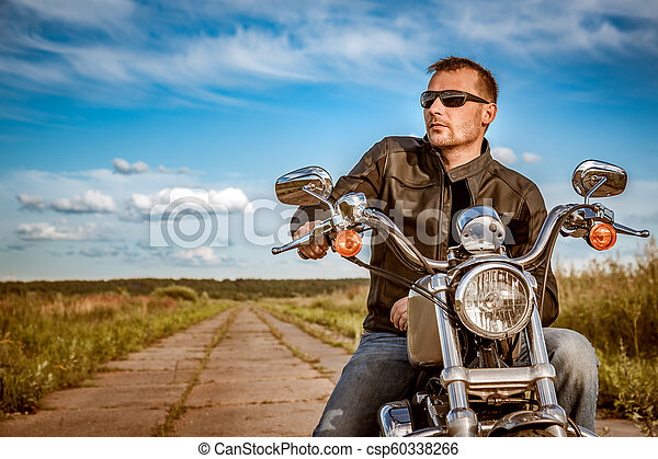 Biker on a motorcycle - csp60338266