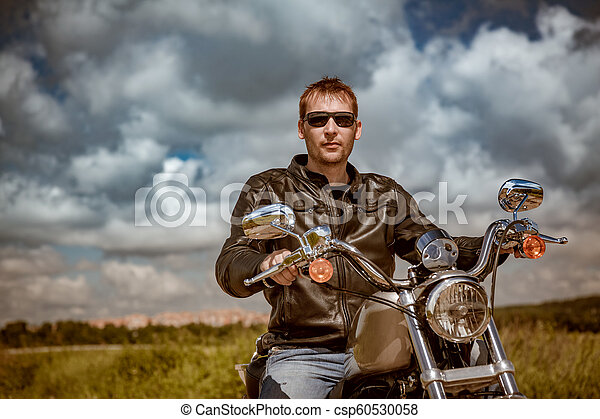 Biker on a motorcycle - csp60530058