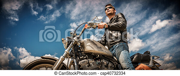 Biker on a motorcycle - csp40732334