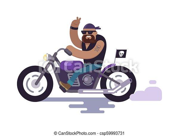 Biker on Bike Shows Peace Gesture, Modern Cyclist - csp59993731