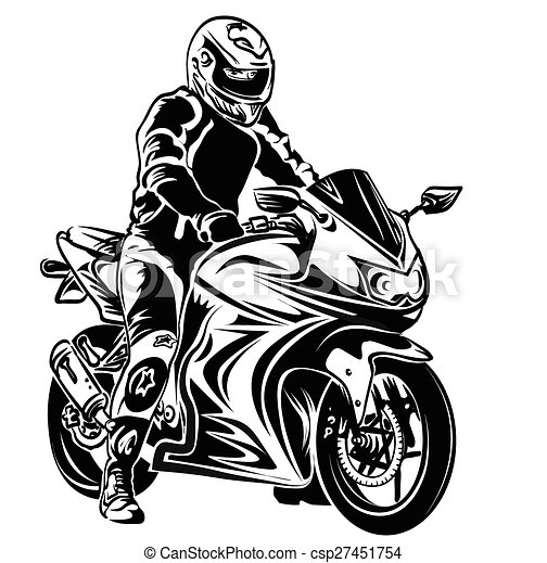 biker on motorcycle - csp27451754