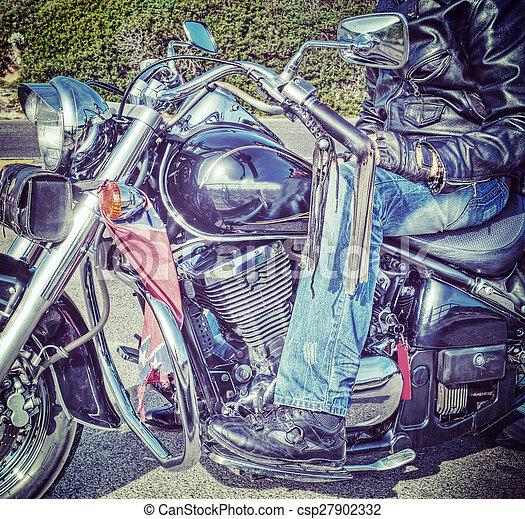 biker on motorcycle in hdr - csp27902332