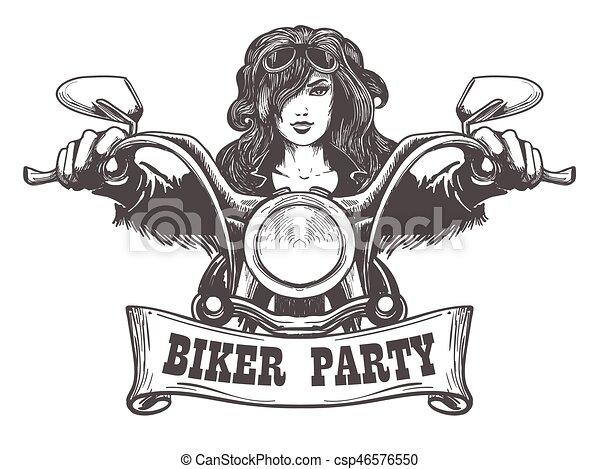 Biker Party Handdrawn Illustration - csp46576550