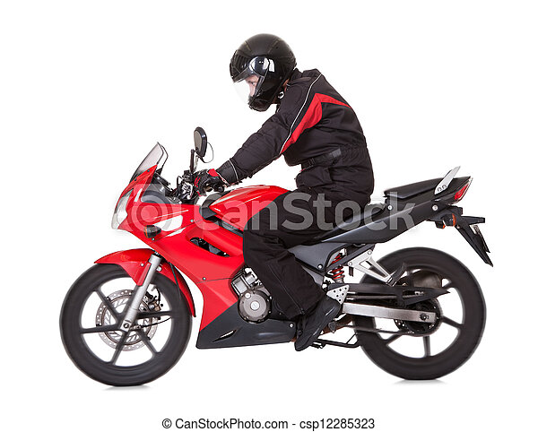 Biker rider his red motorcycle - csp12285323