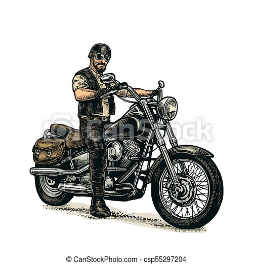 biker riding a motorcycle vector engraved illustration man in the rh canstockphoto com harley motorcycle vector art motorcycle rider vector art
