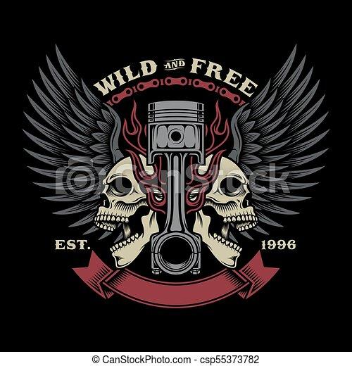 ce74cee5 Biker skull emblem illustration. Fully editable vector illustration ...