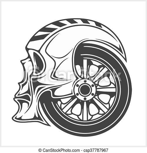 Biker skull - racing symbol - csp37787967