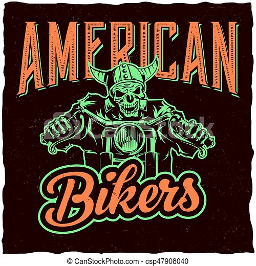 633e5a8c Biker T-Shirt Label Design With Illustration Of Skeleton Riding On Motorbike