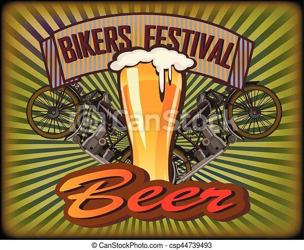 Bikers Festival retro , vector .Beer - csp44739493