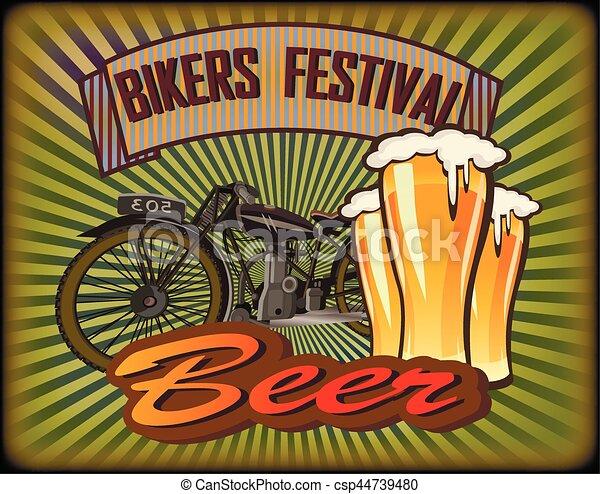 Bikers Festival retro , vector .Beer - csp44739480