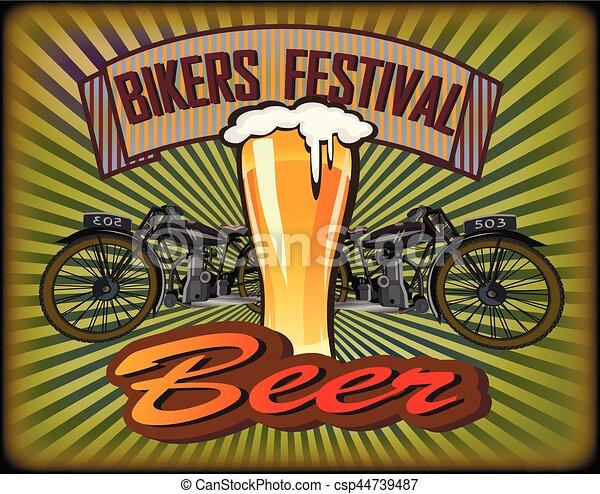 Bikers Festival retro , vector .Beer - csp44739487
