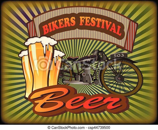 Bikers Festival retro , vector .Beer - csp44739500