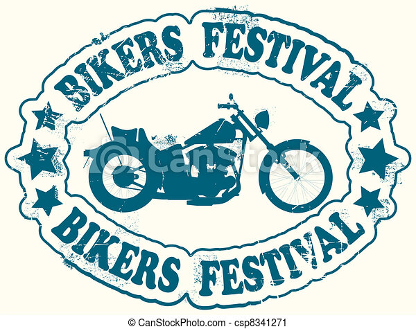 Bikers festival stamp - csp8341271