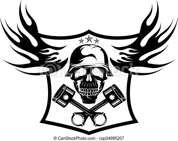 Bikers Theme Emblem With Skullflames And Pistons