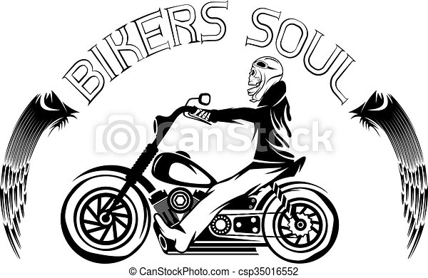 bikers theme label with skeleton on motorbike - csp35016552