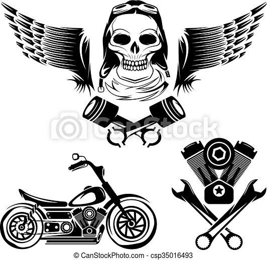 Bikers Theme Labels With Motorbikeskullengine And Pistons