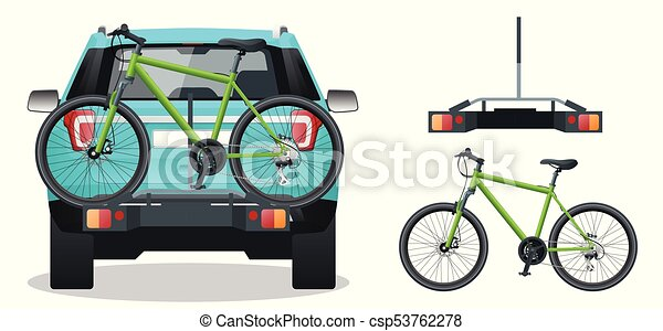 Bikes Loaded on the Back of a SUV. Back view. Flat style vector illustration isolated on white background. - csp53762278