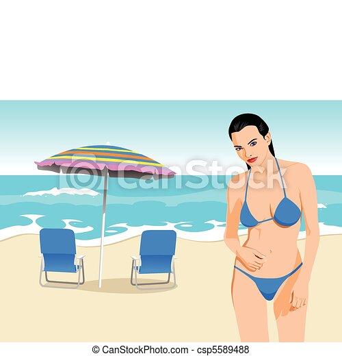 bikini, dziewczyna - csp5589488