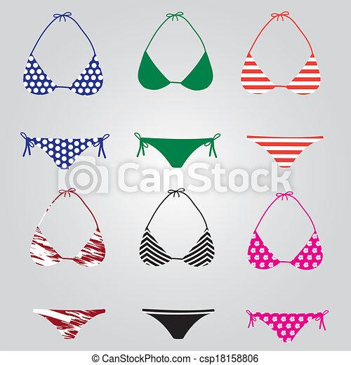bikini, eps10, vybírání, plavky - csp18158806