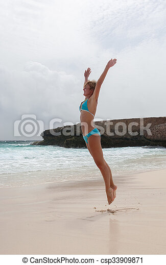 bikini Girl Sea beach - csp33909871