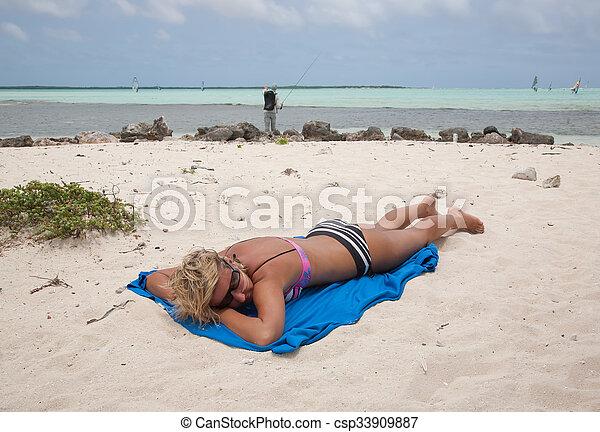 bikini Girl Sea beach - csp33909887