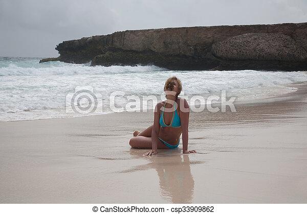 bikini Girl Sea beach - csp33909862