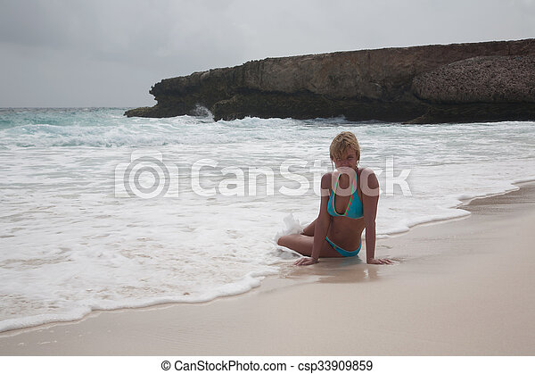 bikini Girl Sea beach - csp33909859