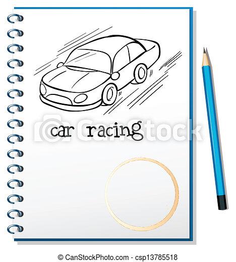 bil, anteckningsbok, tävlings-, teckning - csp13785518