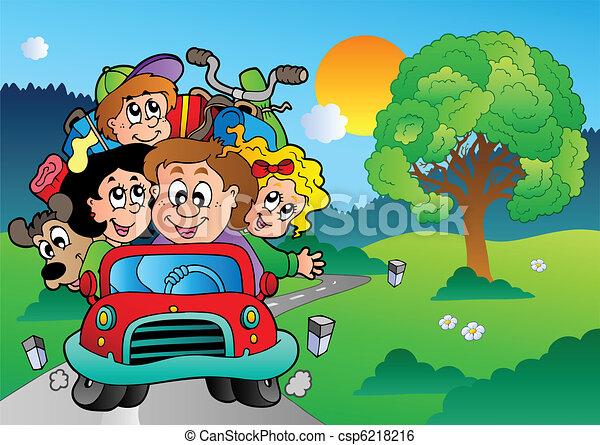 bil, gå, semester, familj - csp6218216