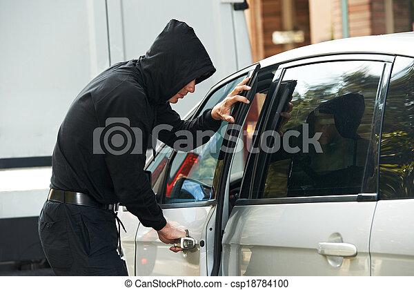 bil, inbrottstjuv, tjuv, bil, stöld - csp18784100