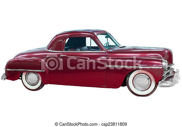 bil, klassisk, röd, årgång - csp23811809