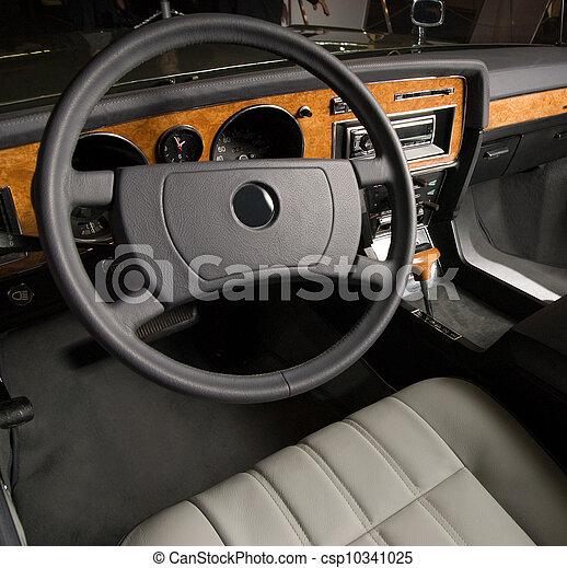 bil, lyxvara, gammal, inre - csp10341025