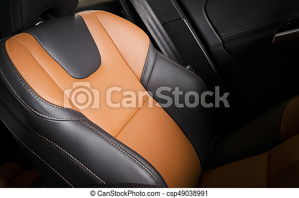bil, sport, nymodig, läder, röd, inre - csp49038991