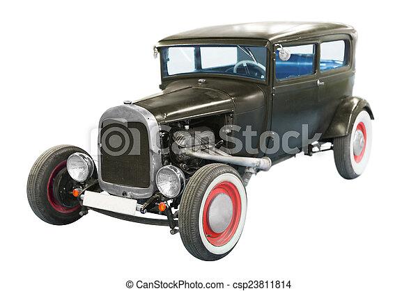 bil, svart, klassisk, årgång - csp23811814