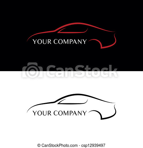 bil, svart röd, logo - csp12939497
