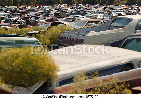 bilar, rostig, kassera, dumpa - csp41575139